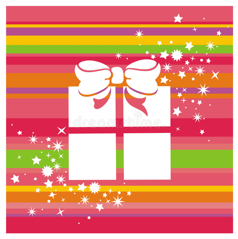 Gift box and stars. Vector color background with gift box and stars royalty free illustration