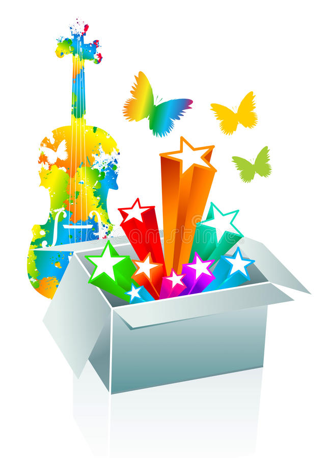 Gift box surprise - entertainment royalty free illustration