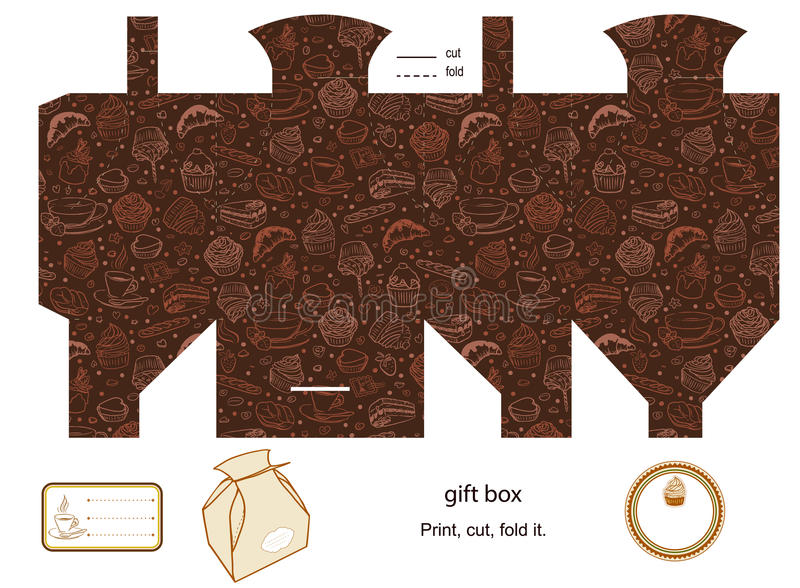 Gift box template royalty free illustration