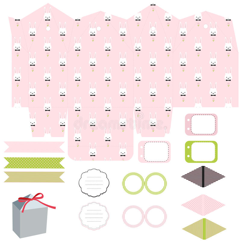 Gift box template easter party set stock vector illustration of download gift box template easter party set stock vector illustration of folded cottage negle Images
