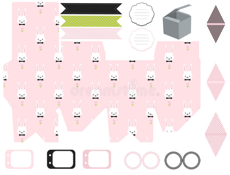 Gift box template easter party set stock vector illustration of gift box template empty labels and cupcake toppers and food tags easter bunny pattern negle Images