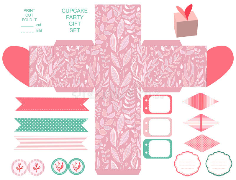Gift box template party set. Party set. Gift box template. Abstract floral pattern, country roses. Empty labels and cupcake toppers and food tags royalty free illustration