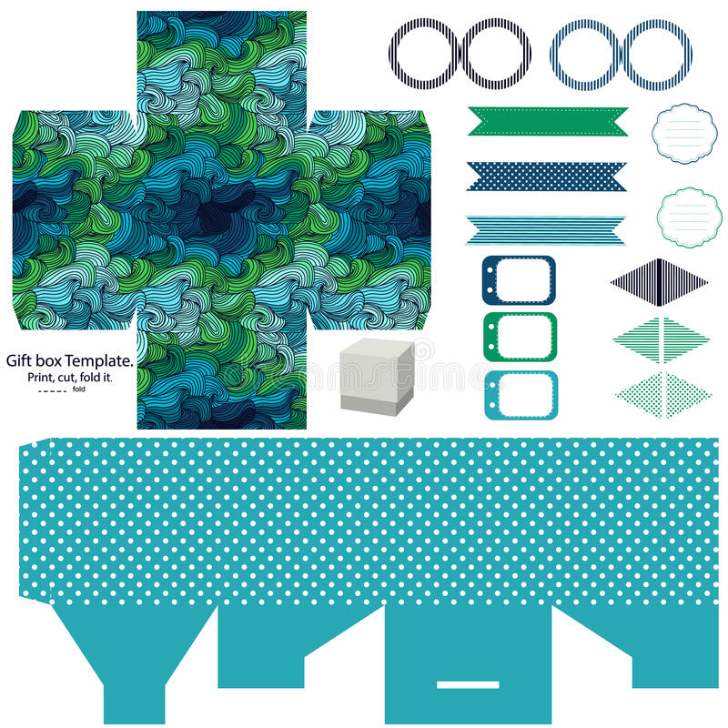 Gift box template party set. Party set. Gift box template. Abstract swirl waves pattern. Empty labels and cupcake toppers and food tags royalty free illustration