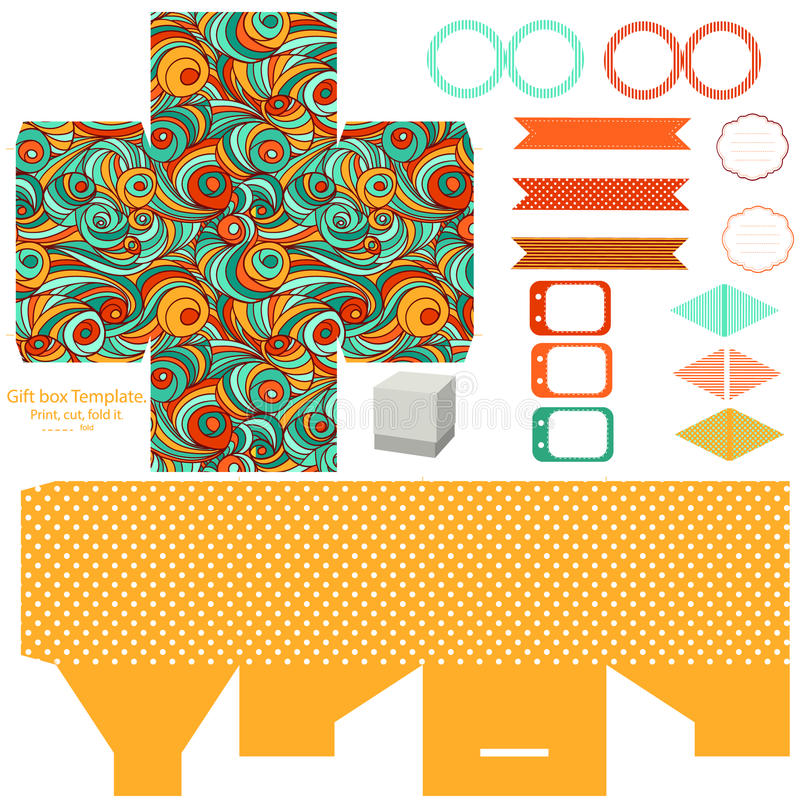Gift box template party set. Party set. Gift box template. Abstract swirl waves pattern. Empty labels and cupcake toppers and food tags stock illustration