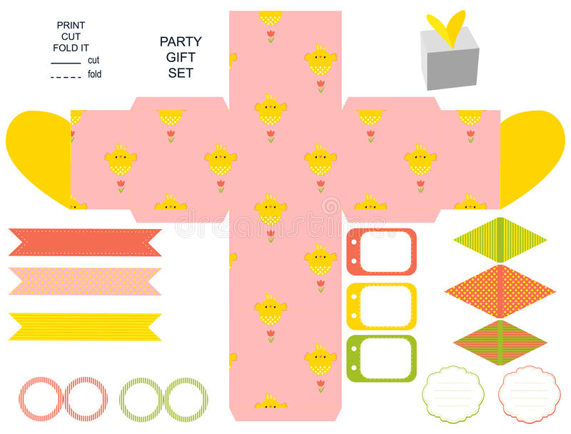 Gift box template party set stock vector illustration of label easter party set gift box template empty labels and cupcake toppers and food tags easter pattern with chicken negle Choice Image