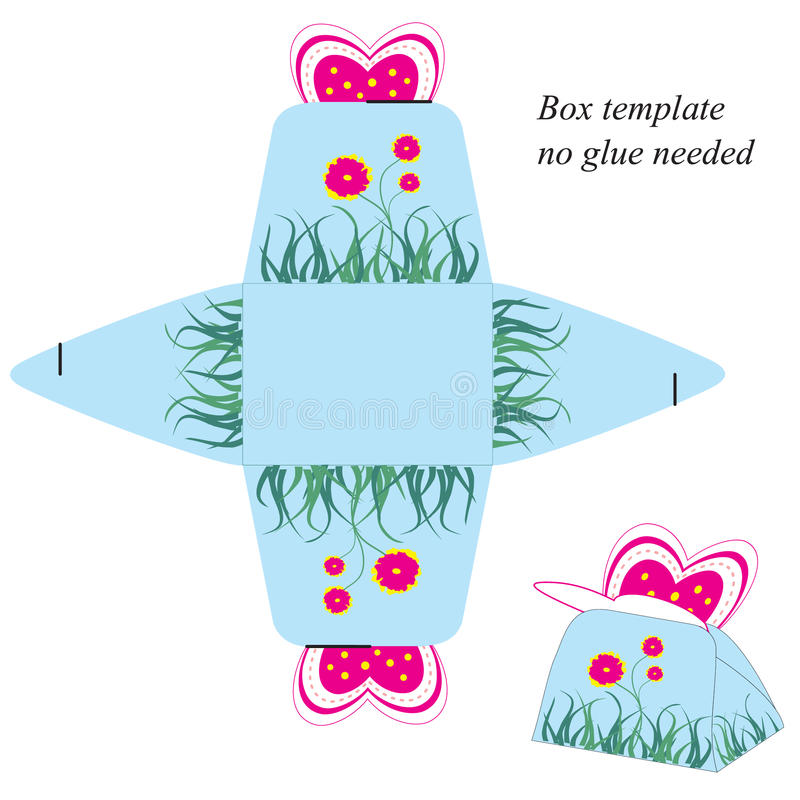 Gift Box Template With Pink Butterfly And Flowers. No Glue ...
