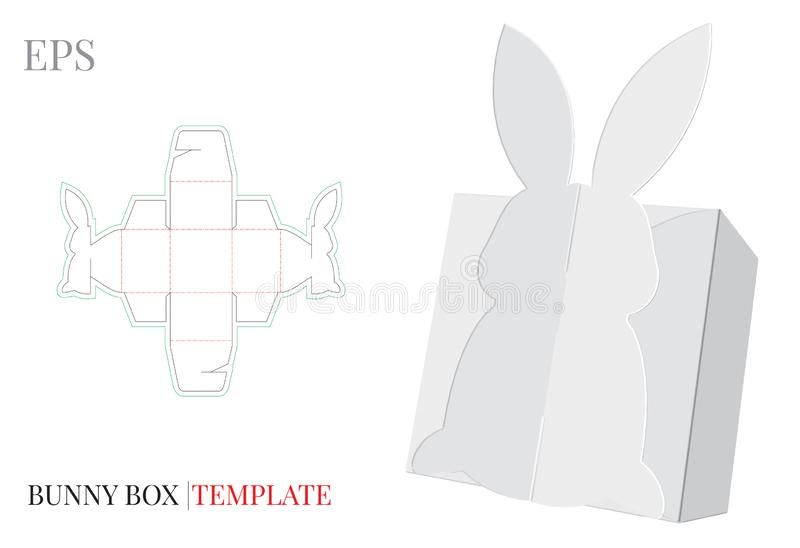 Gift Box Template, Vector with die cut / laser cut lines. Bunny Candy Box. White, blank, clear, isolated Candy Box mock up. On white background with perspective vector illustration
