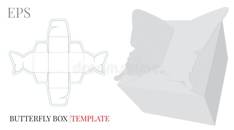 Gift Box Template, Vector with die cut / laser cut lines. Cut and Fold, Butterfly Candy Box, Self Lock, Packaging Design, Birthday Gift Box. White, blank stock illustration