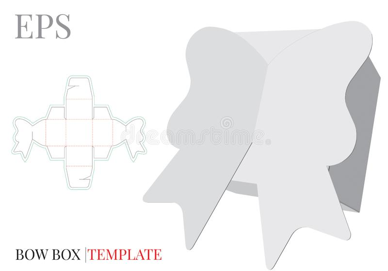Gift Box Template, Vector with die cut / laser cut lines. Candy Box Bow. White, blank, clear, isolated Candy Box mock up. On white background with perspective vector illustration