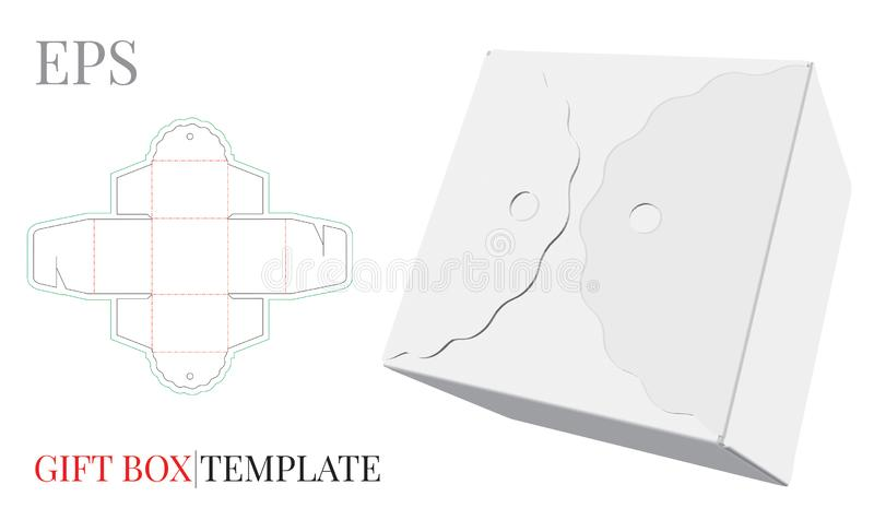 Gift Box Template. Vector with die cut / laser cut lines. Self Lock, Cut and Fold Packaging Design. White, clear, blank, isolated Candy Box mock up on white royalty free illustration