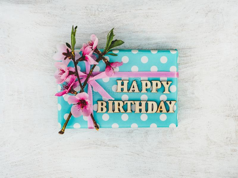 Gift Box, tied with a pink ribbon royalty free stock photo