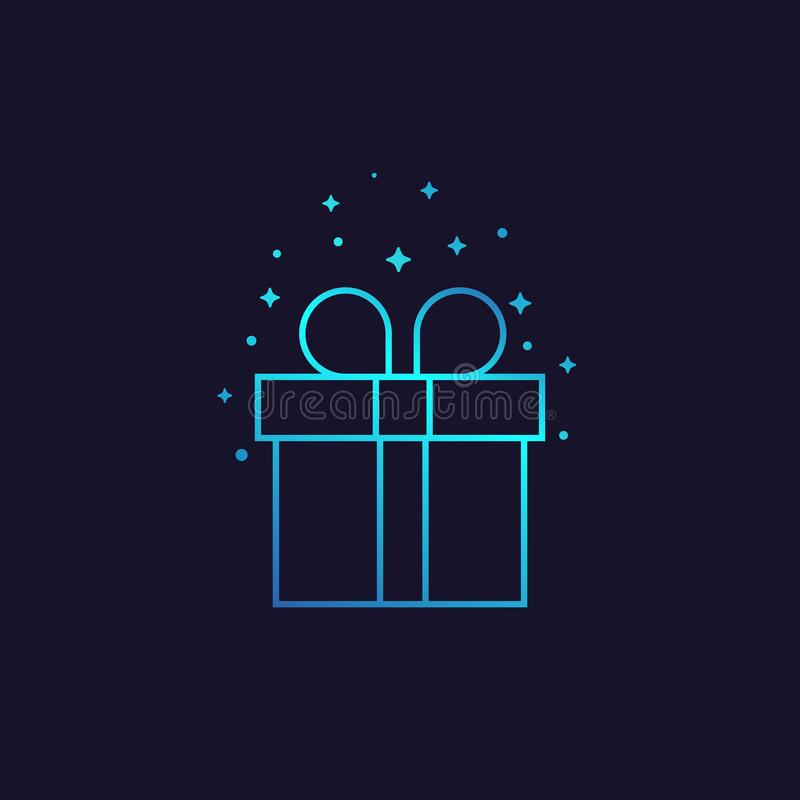 Gift box vector line icon royalty free illustration