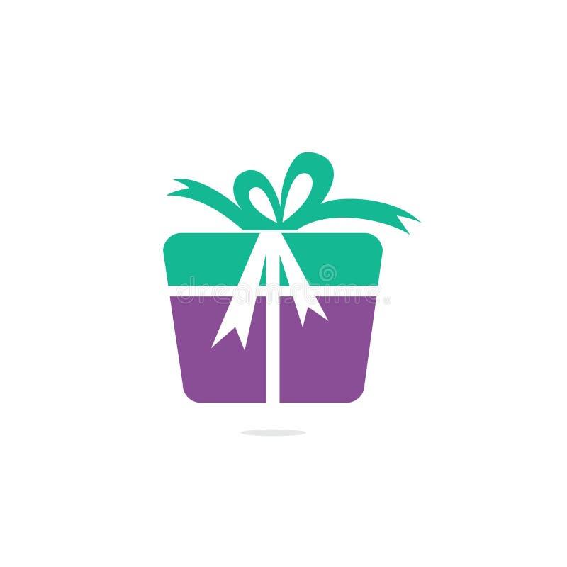 Gift box vector logo design. stock illustration