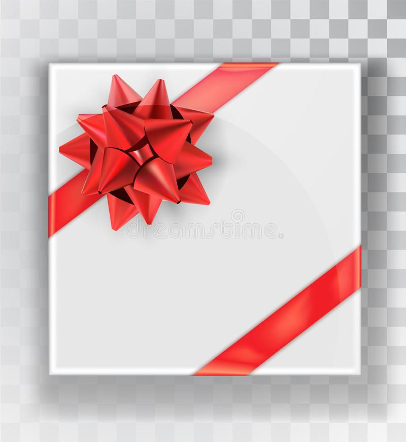 Gift Box. White Christmas gift boxes on a transparent background. Green box with a colorful elegant bow vector illustration