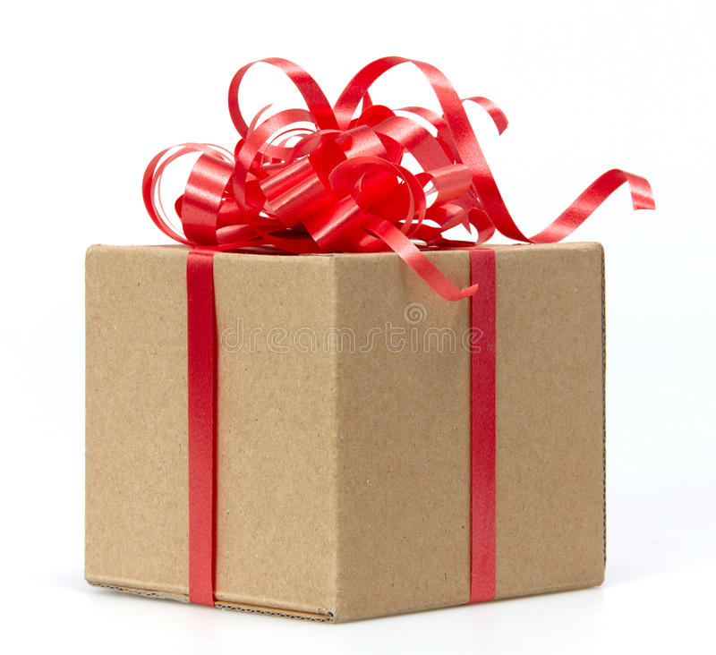 Gift Box whits red ribbon. Isolated on white royalty free stock images