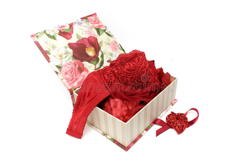 Gift box with woman's underwear stock photo