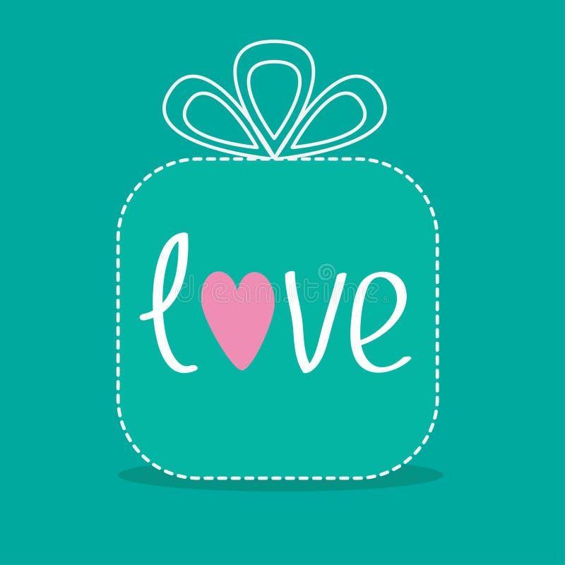 Gift box with word love. Dash line. Flat design. Vector illustration stock illustration