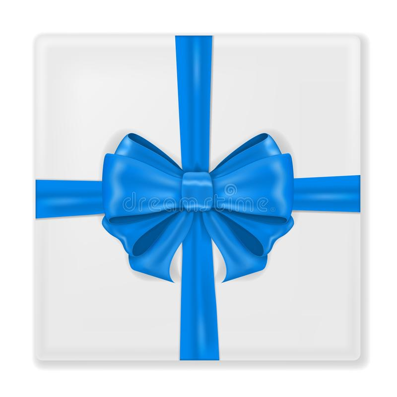 Gift box wrapped with blue ribbon. With silk bow stock illustration