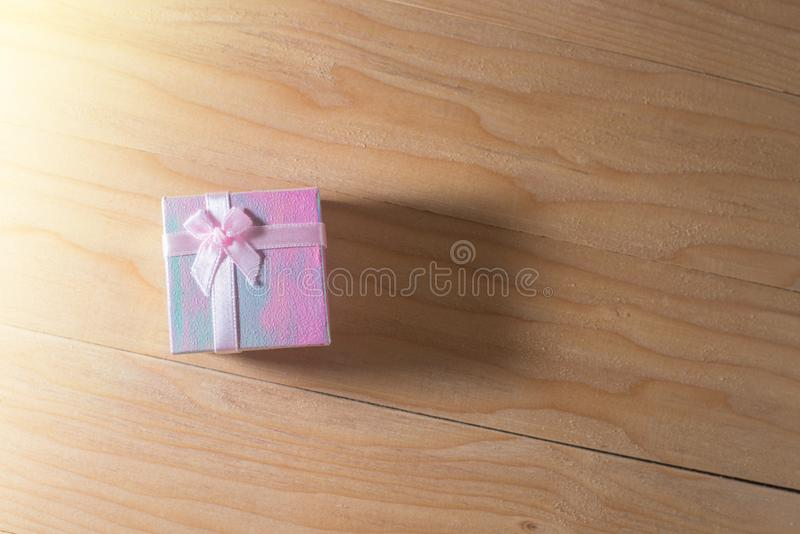 Gift box wrapped Christmas and Newyear presents with bows and ribbons, Christmas frame boxing day background and banner. royalty free stock images