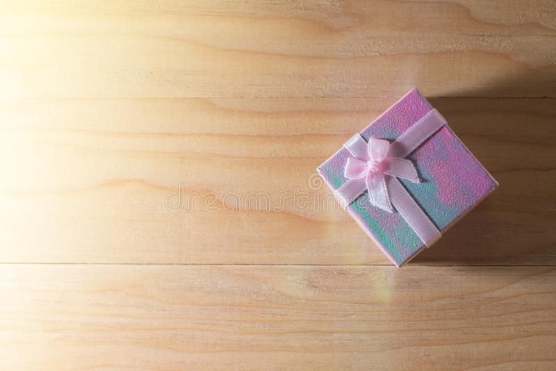 Gift box wrapped Christmas and Newyear presents with bows and ribbons, Christmas frame boxing day background and banner. royalty free stock photo