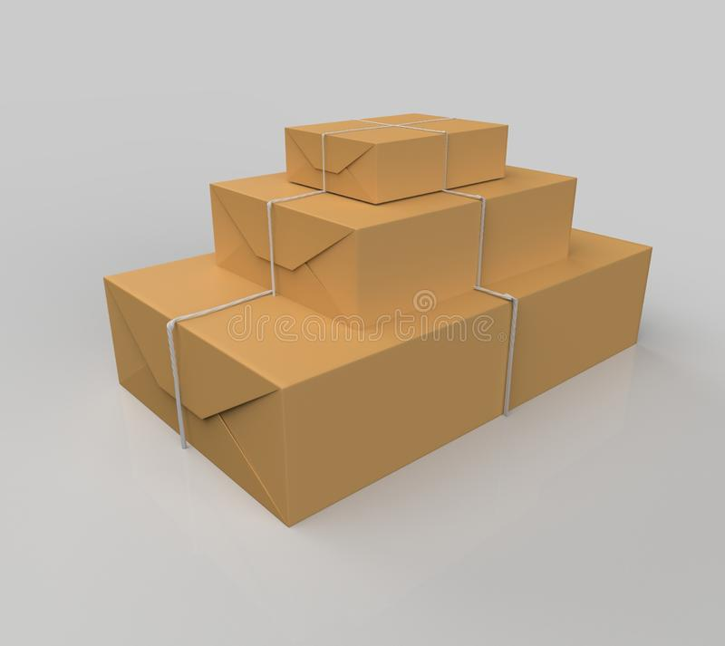 Gift box wrapped in craft paper. With gray thread isolated on white background. 3d illustration royalty free illustration