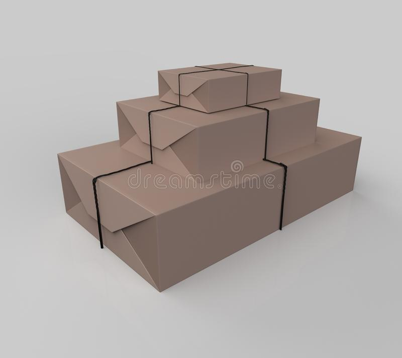 Gift box wrapped in craft paper. With gray thread isolated on white background. 3d illustration stock illustration