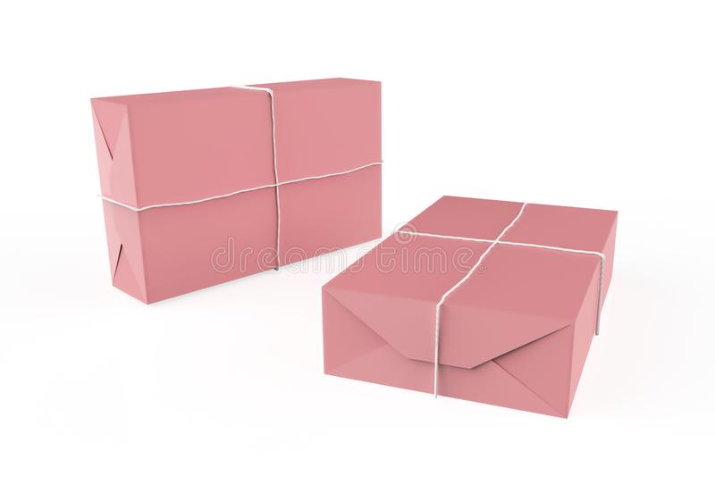 Gift box wrapped in craft paper. With white thread isolated on white background. 3d illustration stock illustration