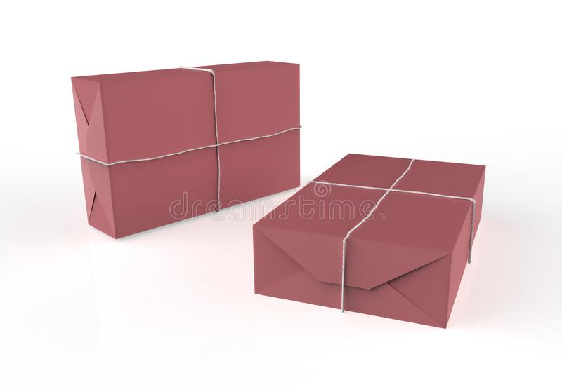 Gift box wrapped in craft paper. With white thread isolated on white background. 3d illustration vector illustration