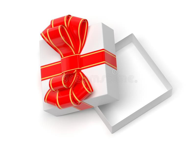 Gift box wrapped with red decoration ribbon. Open empty box. 3d rendering illustration. royalty free stock photography