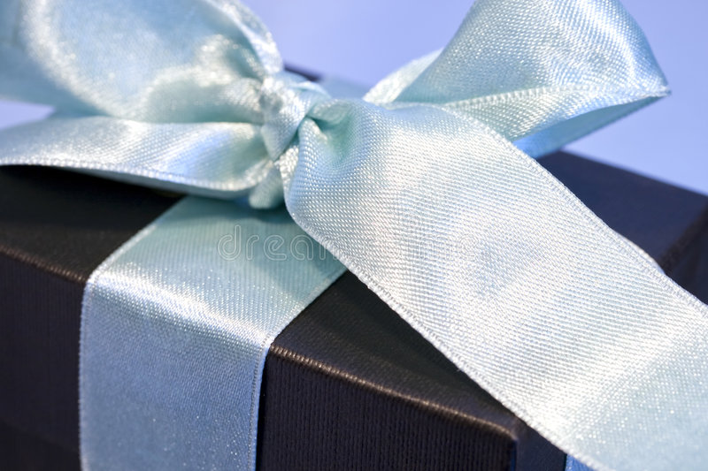 Gift box wrapped in a satin bow royalty free stock image