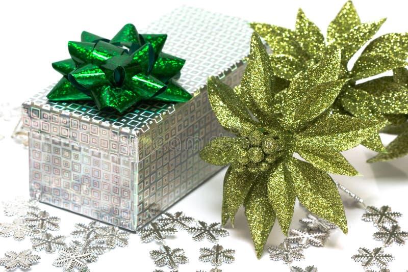 Gift box wth Christmas flower stock photos