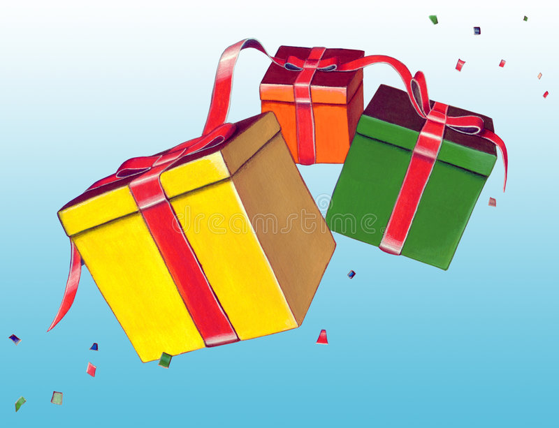 Gift boxes. Card. Hand drawn illustration vector illustration