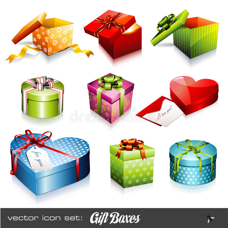 Gift boxes. Set of nine colorful vector gift boxes