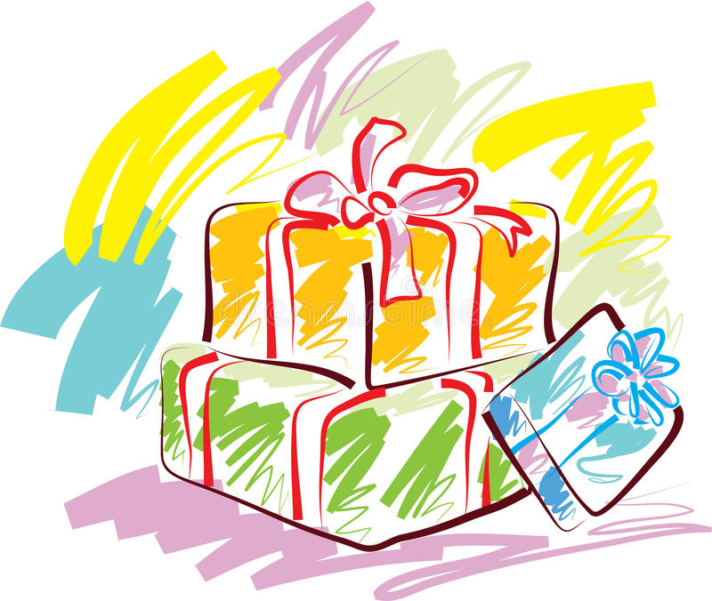 Gift boxes. A fine brush stroke lovely packed gift boxes illustrated image stock illustration