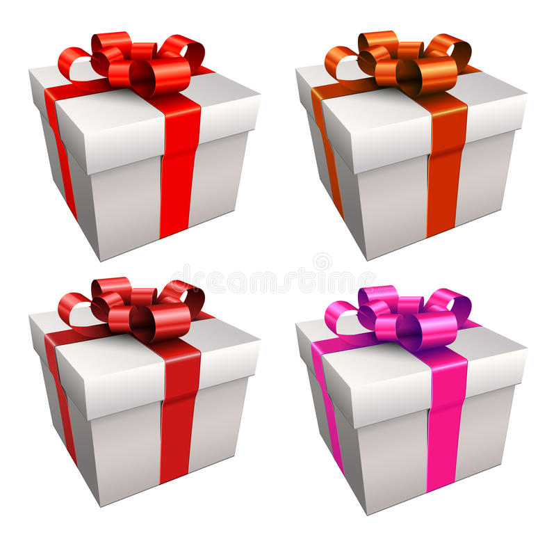 Gift boxes. With ribbon and bow, isolated royalty free illustration