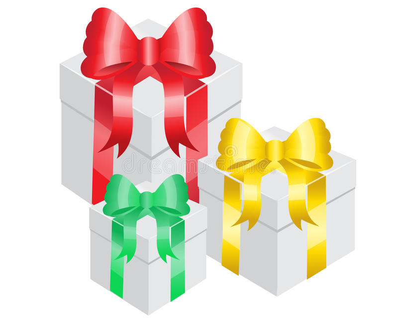 Gift Boxes. Three gift boxes with bright ribbons of different colors royalty free illustration