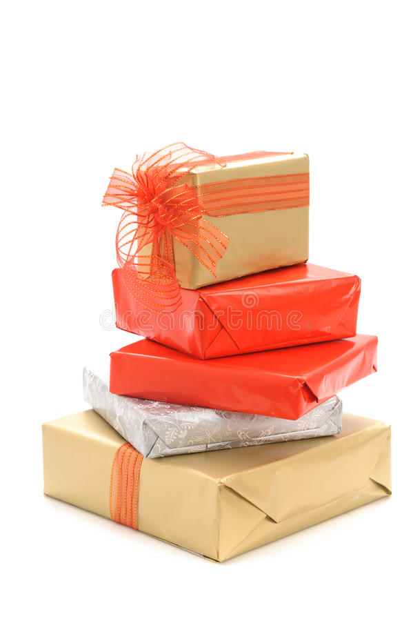 Gift boxes. And christmas balls,Isolated on white stock photos