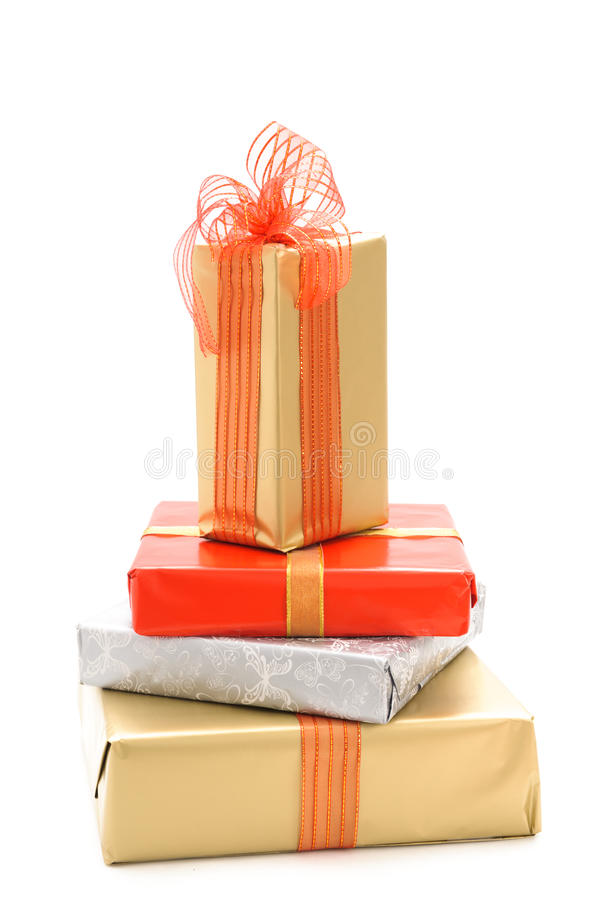 Gift boxes. And christmas balls, on white royalty free stock photo