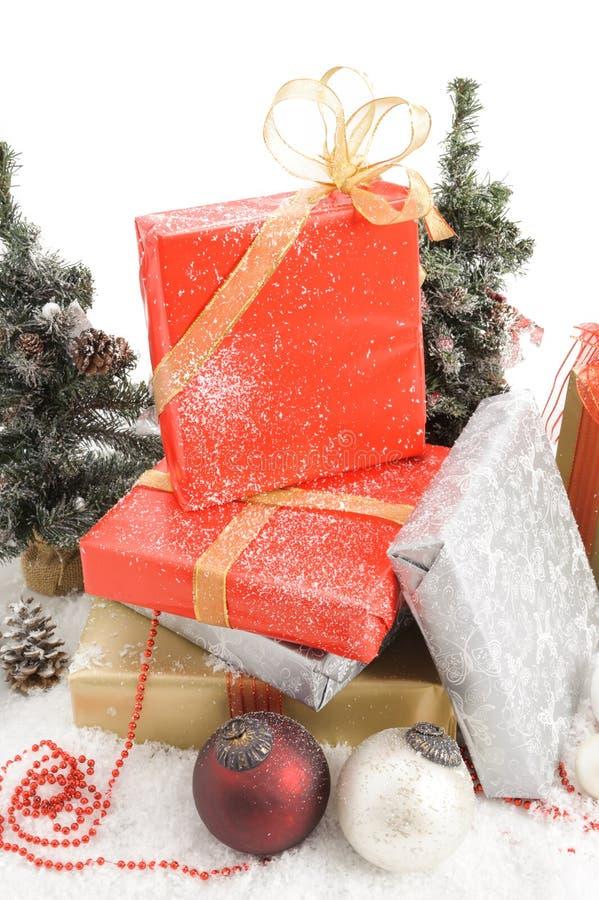 Gift boxes. And christmas balls, on white royalty free stock photos