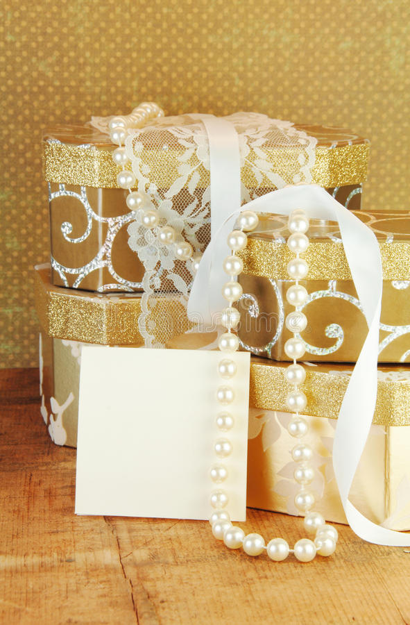 Download Gift Boxes and Blank Card stock image. Image of copy - 14192685