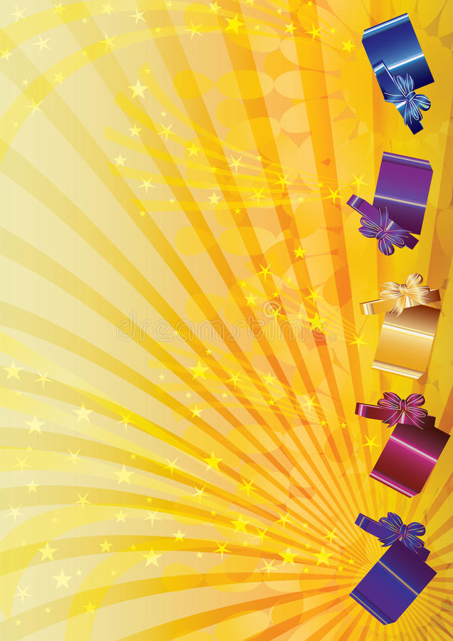 Gift Boxes Blowing Stars_eps stock illustration