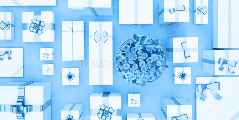 Gift boxes on blue background. Top view. Gift boxes and flower b stock illustration