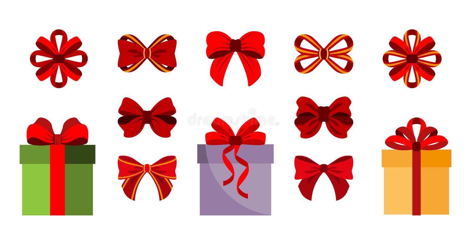 Gift Boxes. Bows. Set Icon. Vector. Flat stock illustration
