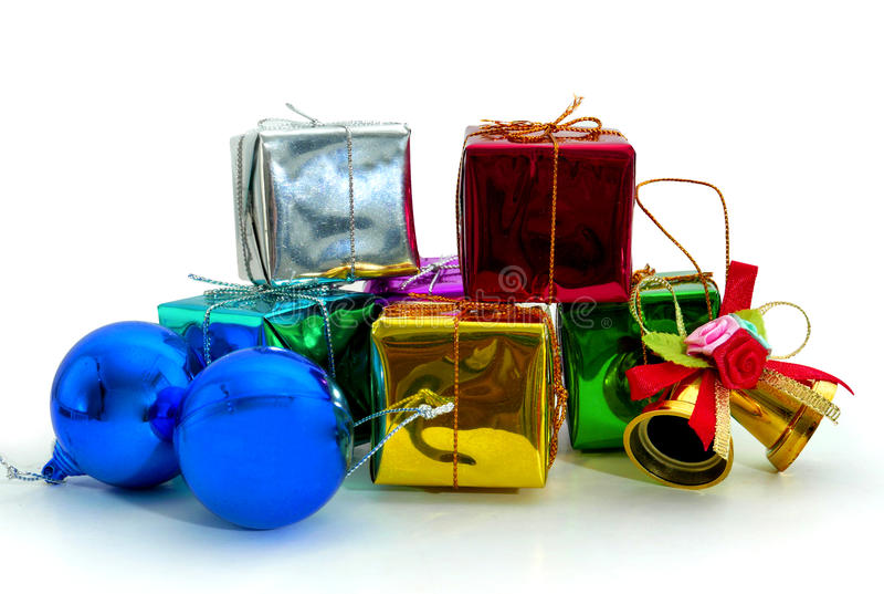 Gift boxes. And christmas ball,Isolated on white royalty free stock photo