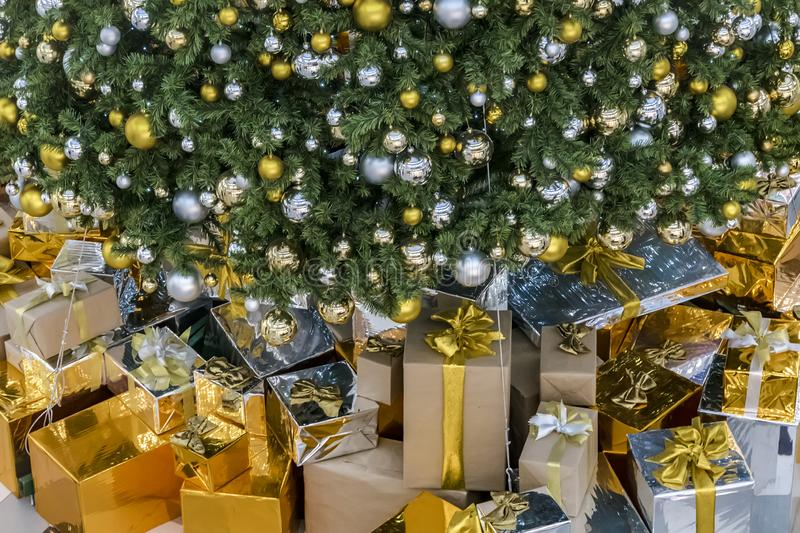 Gift boxes with Christmas tree at the background for surprise Children in New year or Xmas party festival. Christmas party event royalty free stock photography