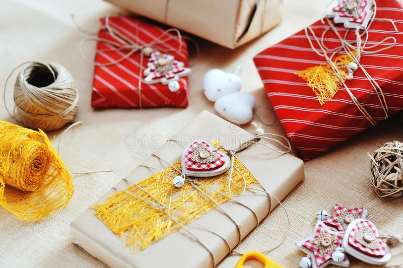 Gift boxes for Christmas and tree decorations royalty free stock photography