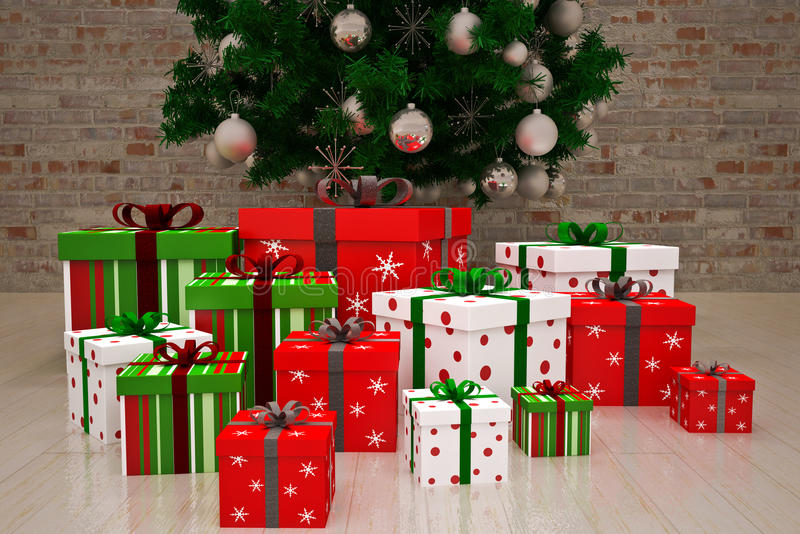 Gift boxes. Gift christmas boxes under Christmas tree vector illustration