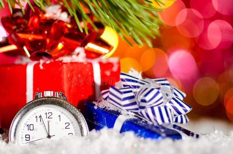 Gift Boxes And Clock Royalty Free Stock Photo