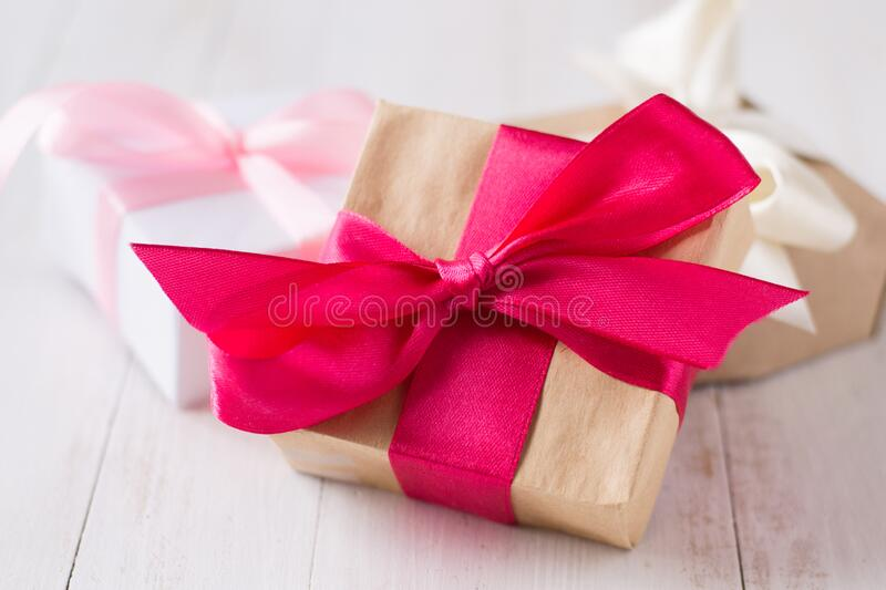 Gift boxes with color ribbons royalty free stock photo