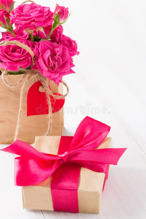 Gift boxes with color ribbons stock image